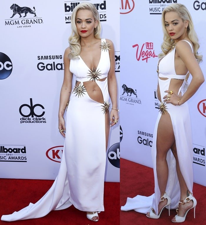 Rita Ora bared her belly button and was not wearing underwear