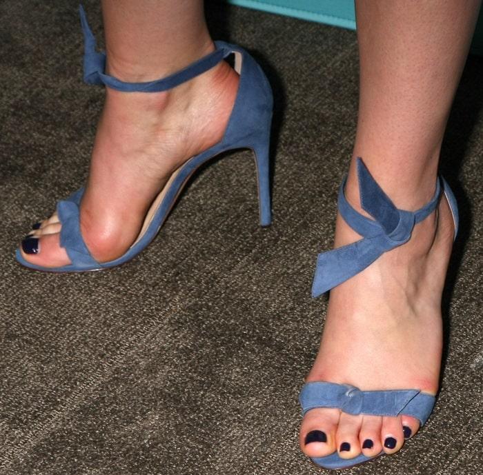 Ruth Wilson's hot feet in knotted Alexandre Birman sandals