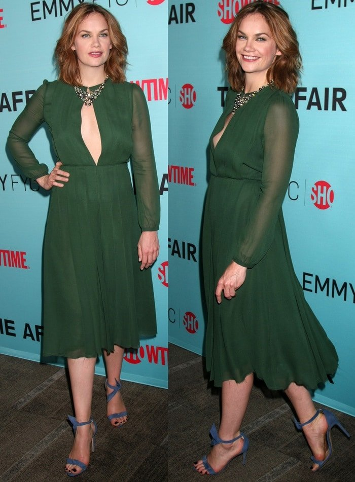 Ruth Wilson flashed her legs in a sexy dress from the Gabriela Hearst