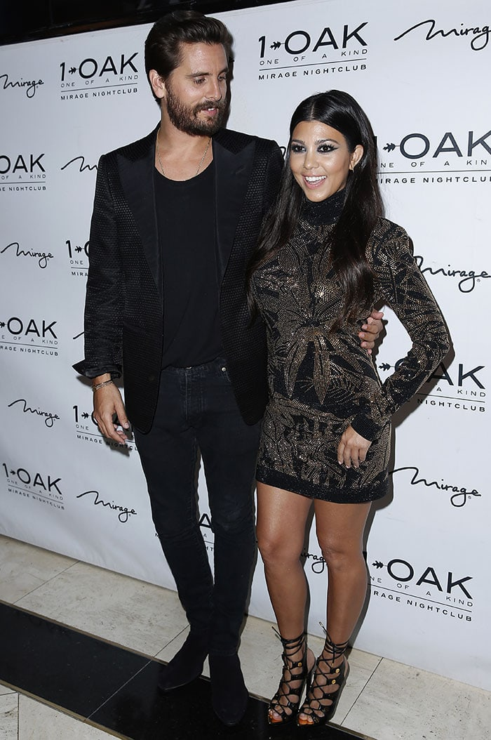 Scott Disick celebrating his 32nd birthday with Kourtney Kardashian at 1 OAK inside the Mirage Hotel and Casino in Las Vegas on May 23, 2015