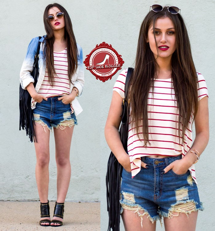 Shelly looks amazing in denim cutoffs with a striped shirt