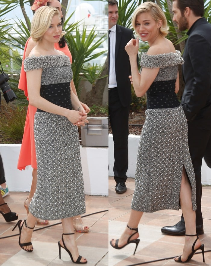 Sienna Miller flashed her legs in an off-the-shoulder dress
