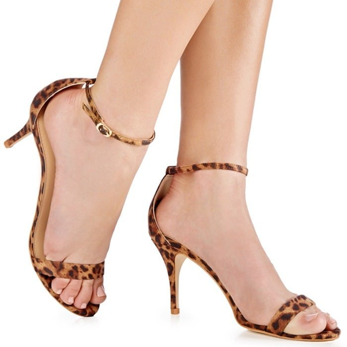 'Siscia' Faux-Leather Mid-Heel Sandals Animal Print