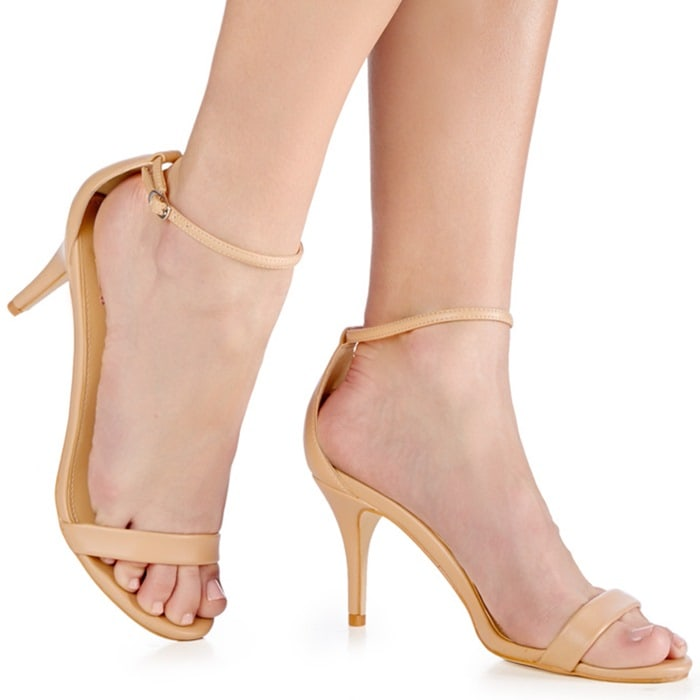 Siscia Nude Ankle Strap Sandals