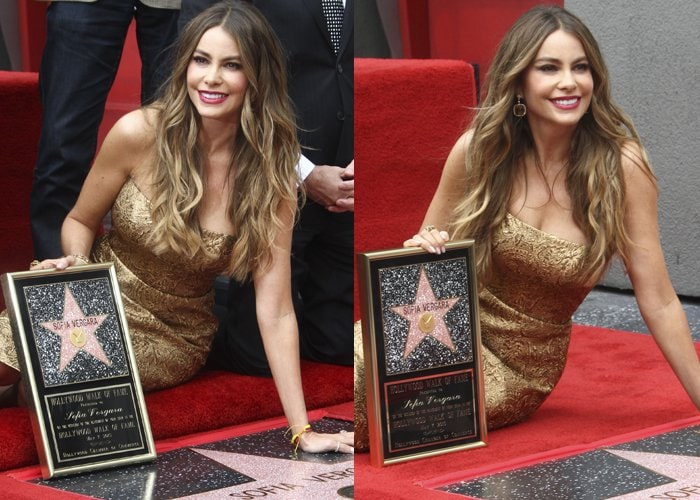 Sofia Vergara celebrating the unveiling of her own star on the Hollywood Walk of Fame