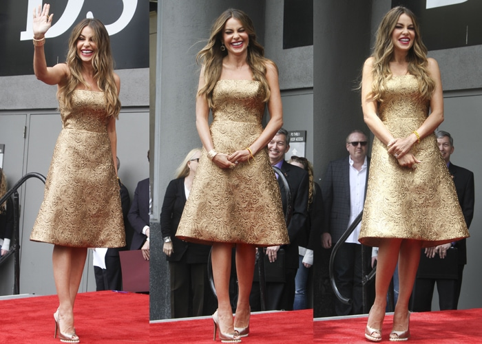 Sofia Vergara paraded her legs in pearl-studded gold slingback from Nicholas Kirkwood