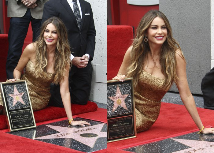 Sofia Vergara shows off her prestigious star on the Hollywood Walk of Fame