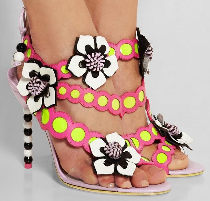 Sophia Webster Amazona floral-appliqued leather sandals