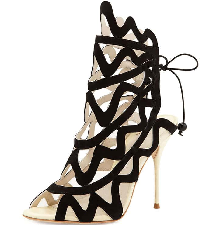 "Sophia Webster ""Mila"" Suede Cutout Peep-Toe Booties"