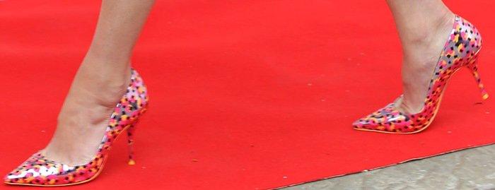 Gemma Arterton's purple metallic polka dot pumps