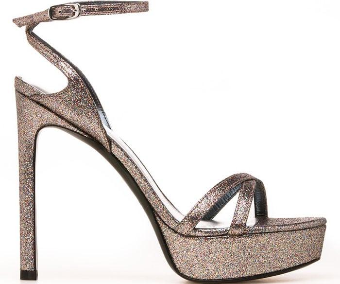 "Stuart Weitzman ""Bebare"" Sandals in Iris Glitter"