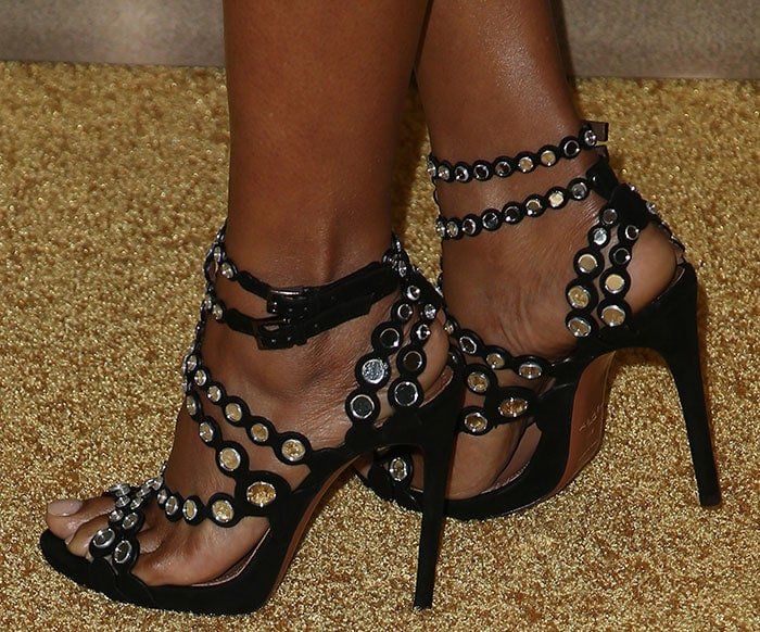 Taraji P. Henson's feet in Alaia mirror-embellished laser-cut suede sandals