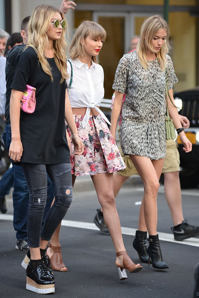 Gigi Hadid, Taylor Swift, and Martha Hunt on their way to Tamarind restaurant in Manhattan, New York City, on May 29, 2015