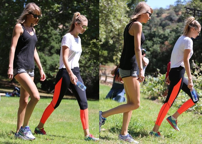 Taylor Swift and Gigi Hadid on a hike together on Mother's Day in Franklin Canyon Park, Los Angeles, on May 10, 2015