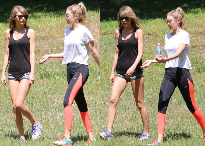 Taylor Swift and Gigi Hadid in cute matchy-matchy Saucony trainers