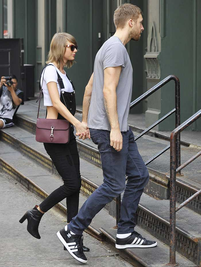 Taylor Swift and Calvin Harris leaving The Spotted Pig restaurant
