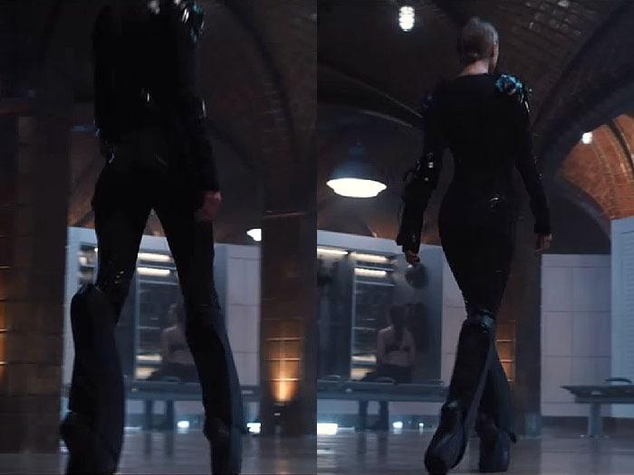 "Stills from Taylor Swift's ""Bad Blood"" music video showing the Iris Van Herpen x United Nude ""Biopiracy"" boots"