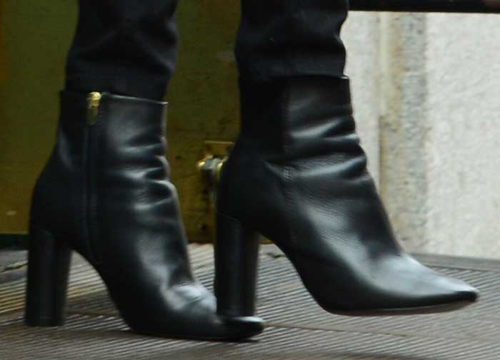 Taylor Swift's ankle boots with wrapped architectural heels