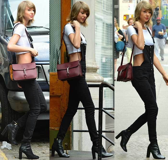 Taylor Swift styled black dungarees with a Topshop ribbed crop tee