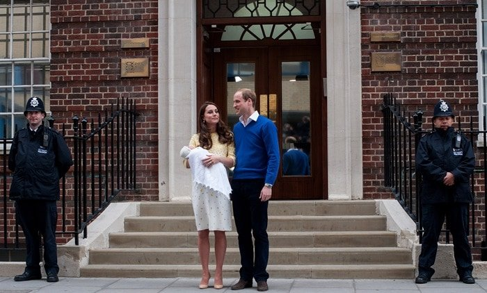 Catherine, Duchess of Cambridge and Prince William, Duke of Cambridge, leave St Mary's hospital with their new baby daughter