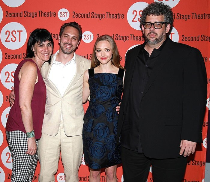 """Leigh Silverman, Thomas Sadoski, Amanda Seyfried, and Neil LaBute at the opening night party for """"The Way We Get By"""""""