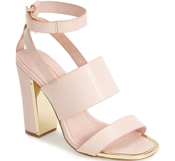 Topshop Riot Lizard Embossed Ankle Strap Sandals