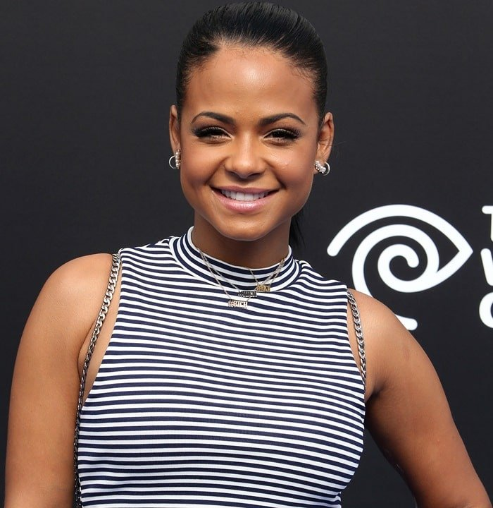 Christina Milian's striped cut out midi dress from Topshop