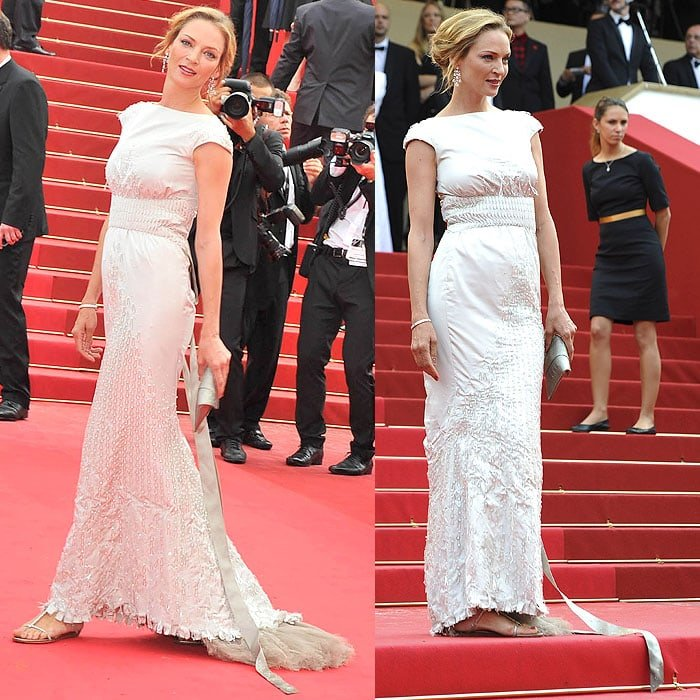 "Uma Thurman floated down the 2011 Cannes Film Festival red carpet in a Chanel Fall 2008 couture cap-sleeve gown and Jimmy Choo ""Fiona"" flat sandals"