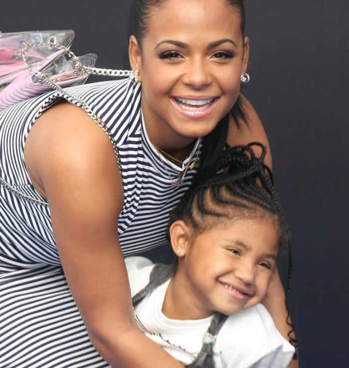 Christina Milian and Violet Madison Nash at the premiere of Tomorrowland