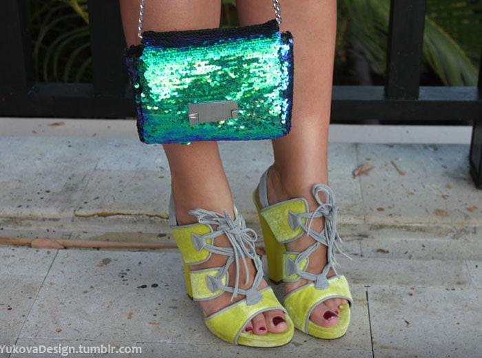 Yuliya's yellow lace-up sandals