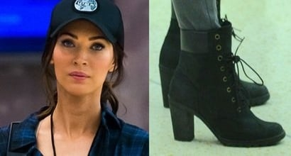 "7903d17492d Megan Fox Films ""TMNT2"" in Edgy Timberland ""Glancy"" Boots"