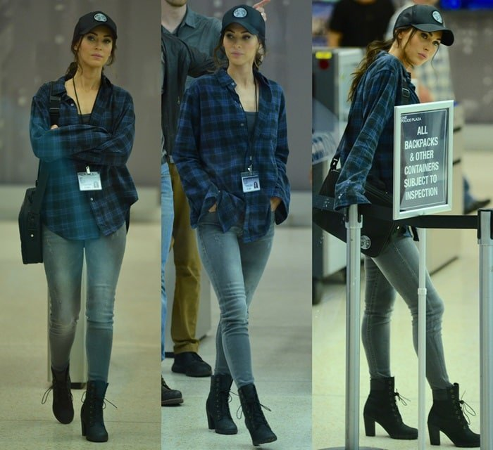 Megan Fox rocks gray skinny jeans with a checkered blue flannel