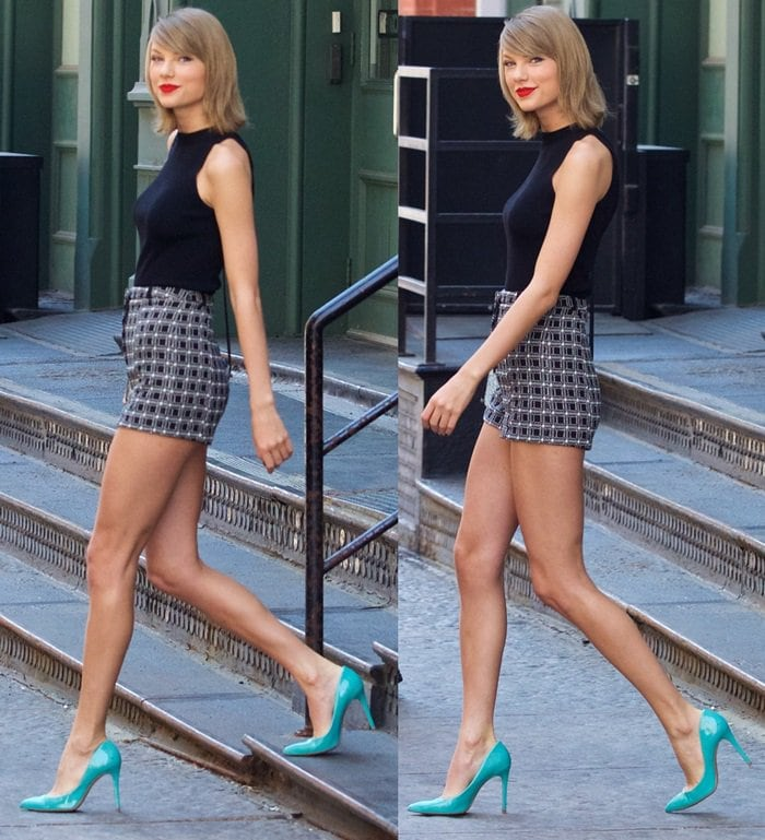 Taylor Swift flaunted her legs in River Island checkered shorts