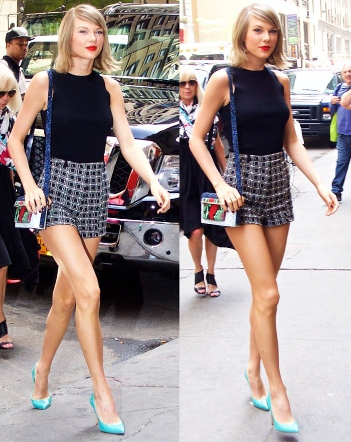 Taylor Swift rocked a black top and toted a Mary Katrantzou shoulder bag