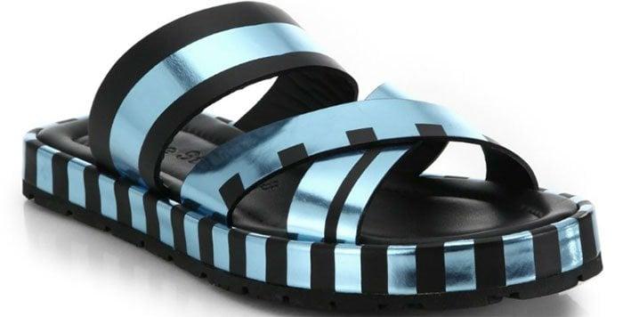 Acne Studios Metallic Striped Leather Slide Sandals