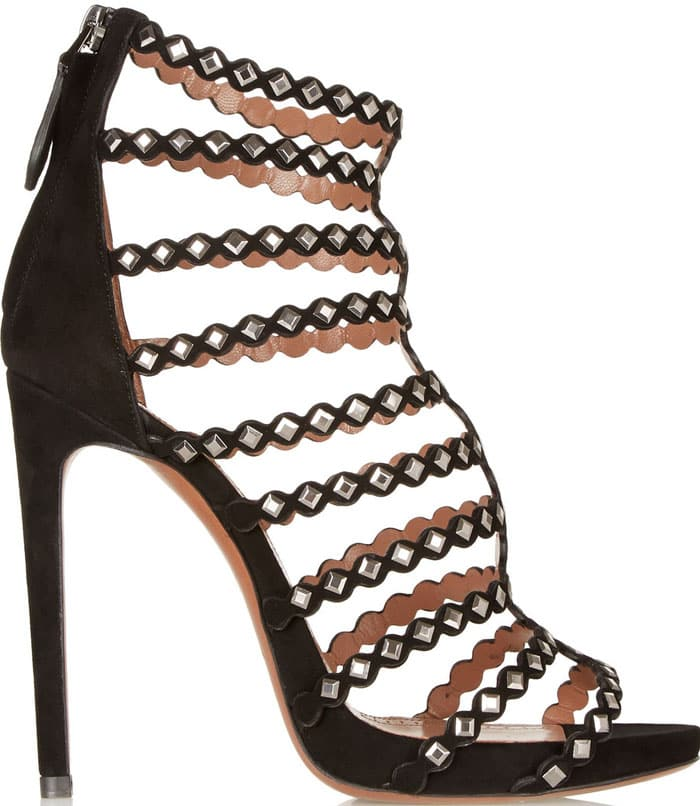 Alaïa Studded Laser-Cut Suede Sandals