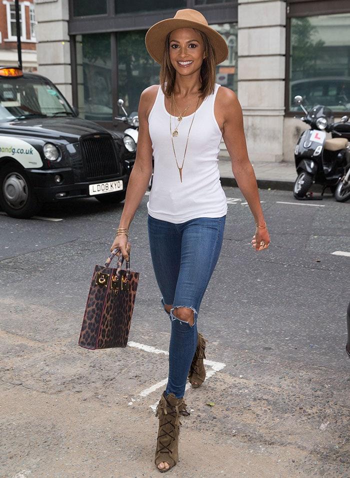Alesha-Dixon-fedora-hat-white-tank-top-ripped-jeans
