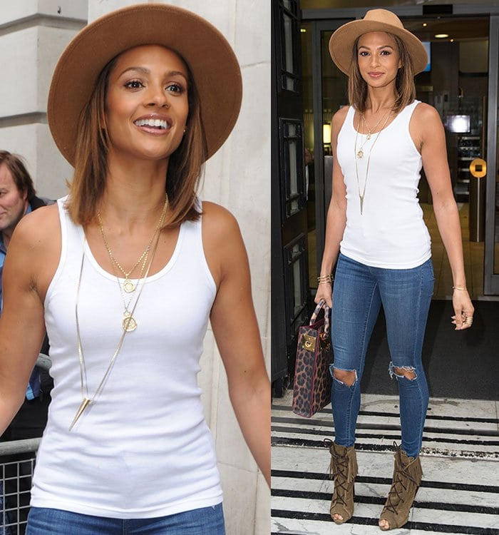 Alesha-Dixon-white-tank-top-ripped-jeans-London