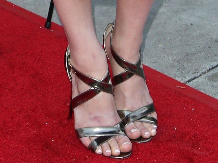 "Alexandra Daddario's sexy feet in Jimmy Choo ""Lottie"" sandals"