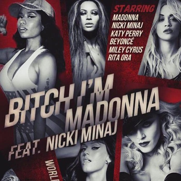 """Madonna unveiled her upcoming """"Bad Blood"""" inspired video, which featured Taylor Swift's nemesis, Katy Perry"""