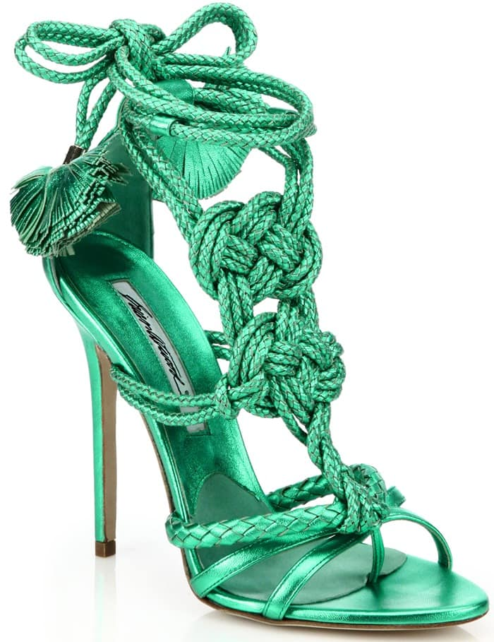 Brian Atwood Blue Yuna Knotted Braided Leather Ankle-Tie Sandals