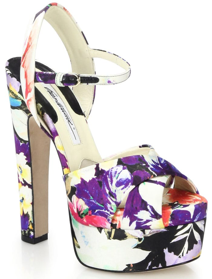 Brian Atwood Multicolor Madison Floral-Print Silk Sandals