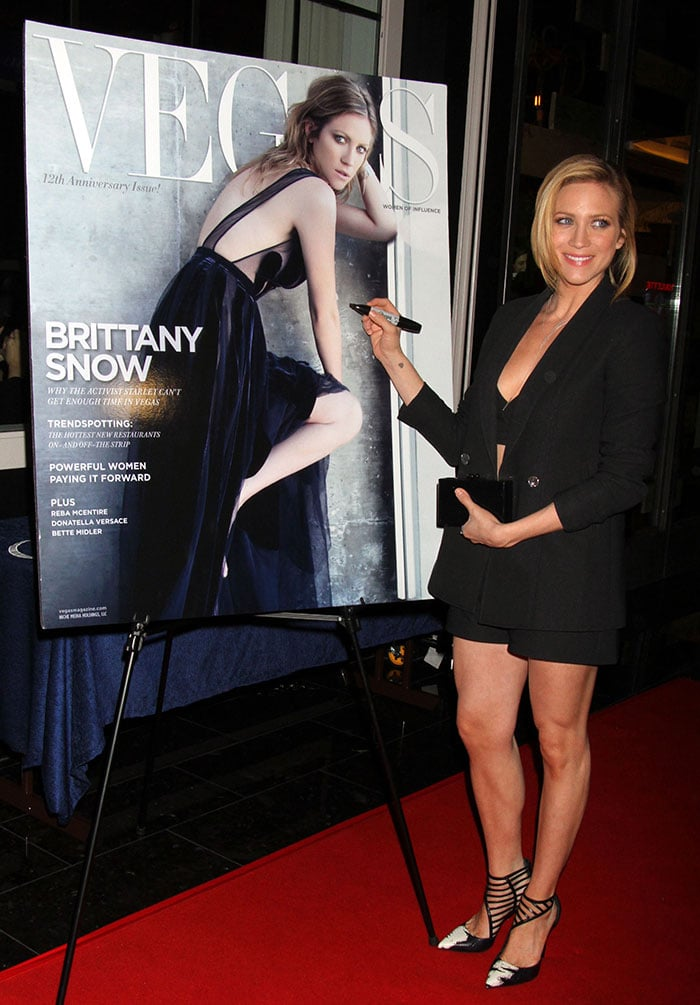 Brittany Snow in a racy Valentino dress on the cover of Vegas Magazine's 12th-anniversary issue