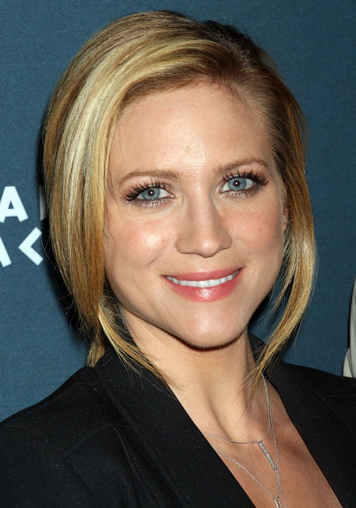 Brittany Snow's blonde hair was pulled back into a messy ponytail
