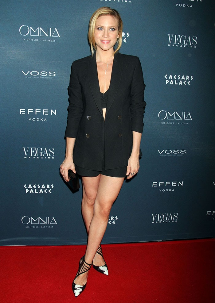 Brittany Snow styled her shorts with a cleavage- and midriff-baring V-neck crop top
