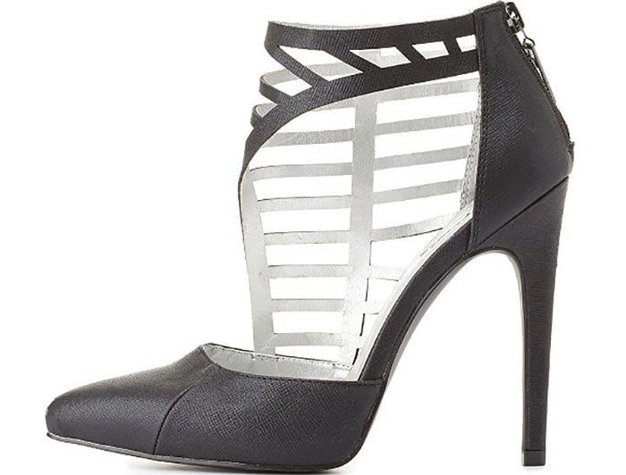 """Charlotte Russe """"Qupid"""" Side-Caged Pointed-Toe Pumps"""