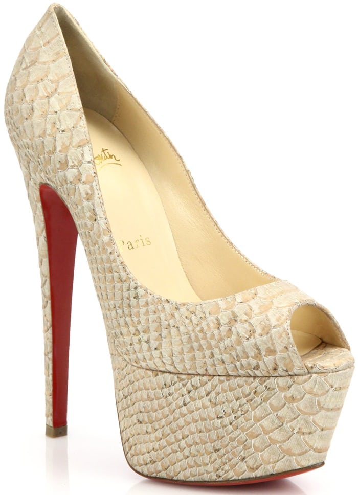 Christian Louboutin Beige Jamie Snake-Embossed Leather Peep-Toe Pumps