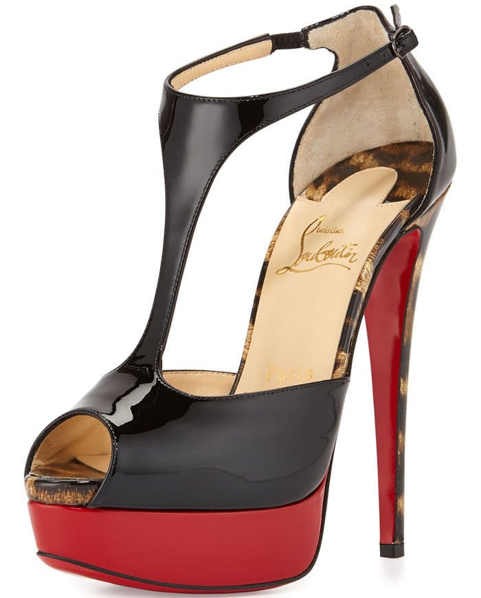 Christian Louboutin Jailopa Patent Red Sole Pump in Black and Leopard