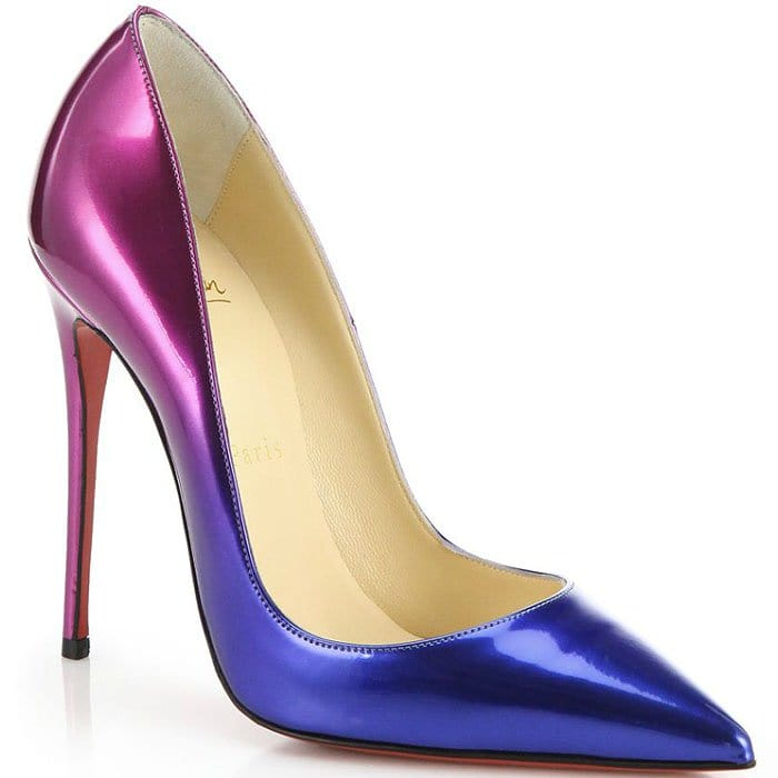 """Christian Louboutin """"So Kate"""" Ombre Patent Pumps in Black/Nude"""