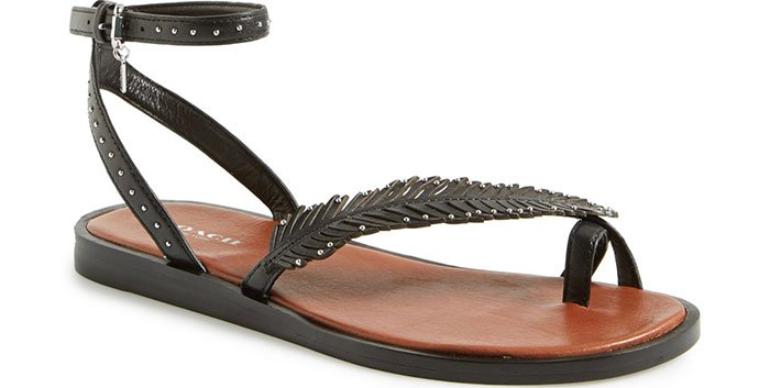 """Coach """"Beach"""" Flat Leather Ankle-Strap Sandals"""